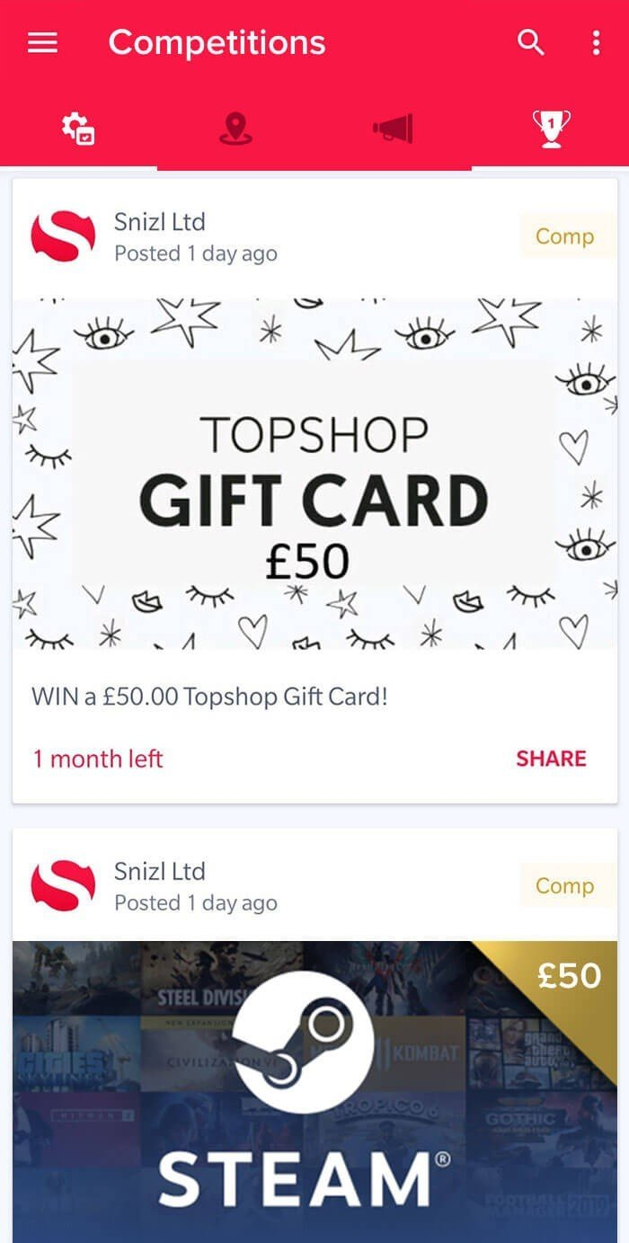Free Competitions on Snizl