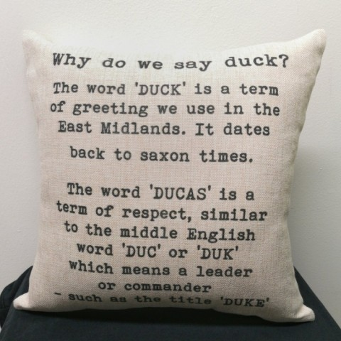 Why do we say duck? linen Cushion