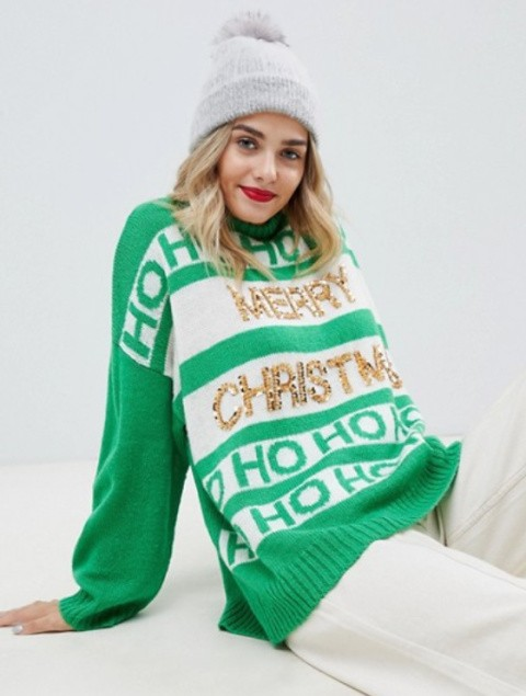 ASOS DESIGN christmas slogan jumper with sequins