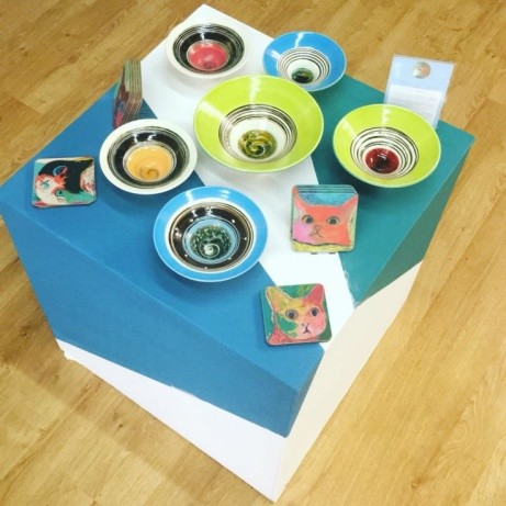 These brightly coloured ceramics and cats are courtesy of Gill Bramley and Corrina Rothwell!