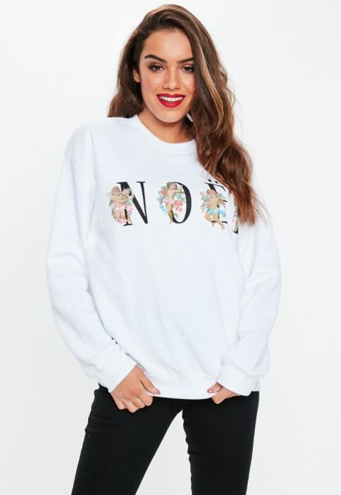 GET CHRISTMASSY - white cherub noel graphic sweatshirt, £18.00!