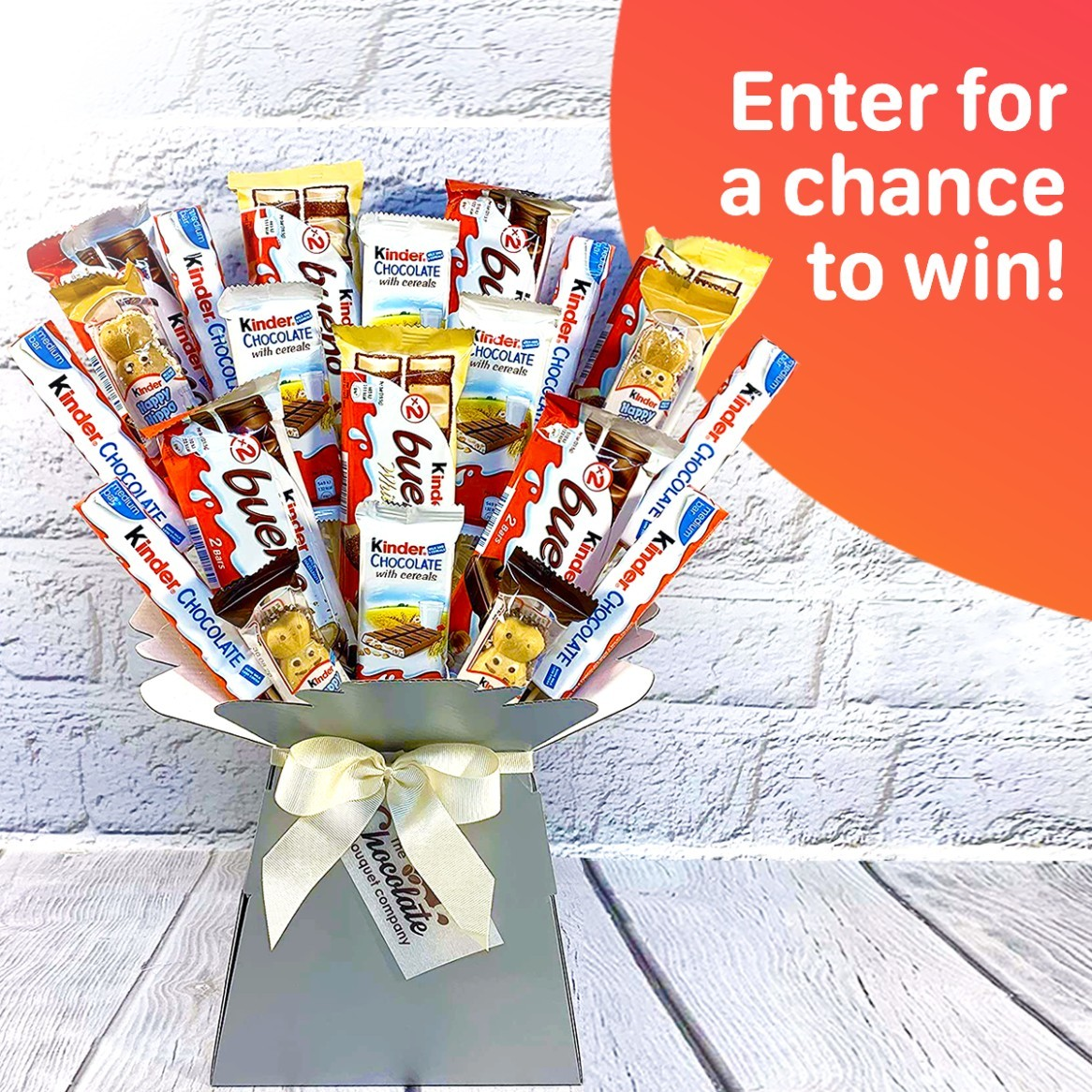WIN the Kinder Chocolate Bouquet containing a whopping 21 bars of Kinder chocolate!