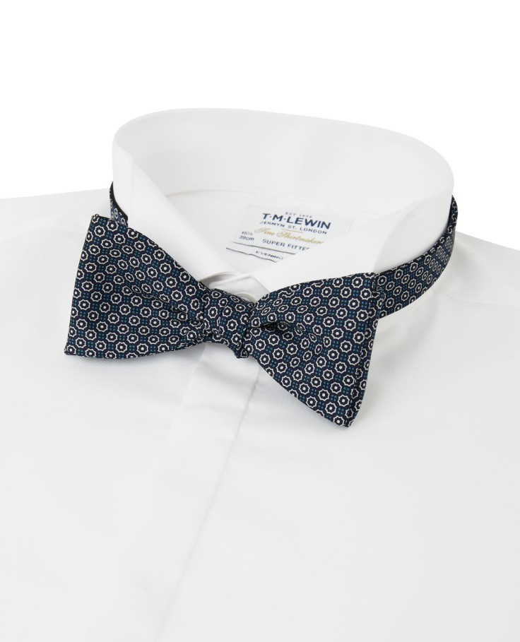 WIN - A Navy and Blue Geometric Print, 100% Silk, Self-Tie Bow Tie from T.M.Lewin