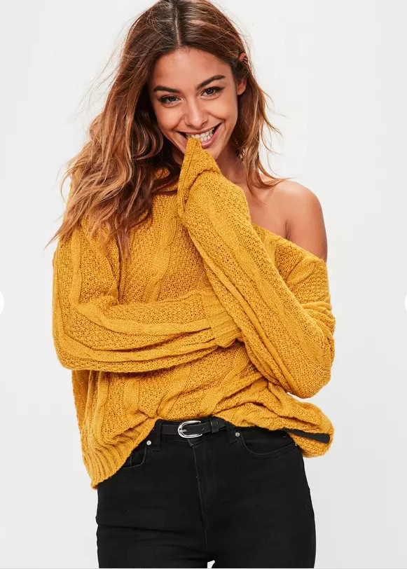 NEW IN - Shop the new 'knit' range including: mustard off shoulder cable knitted jumper £22.00!