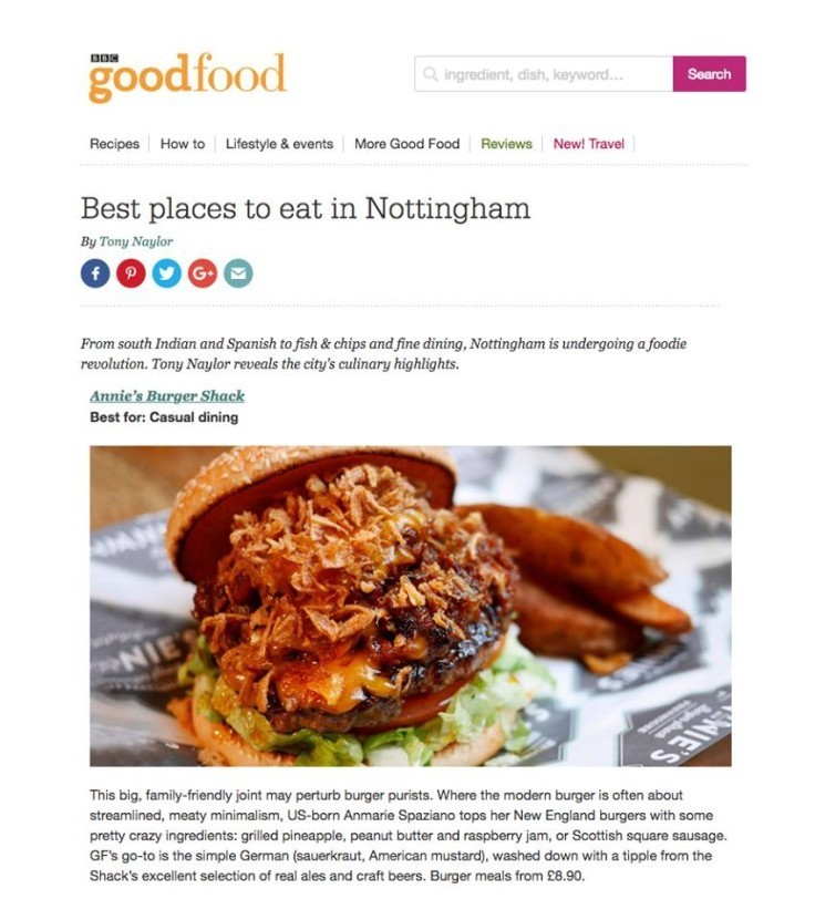 """Annie's Burger Shack has been listed in BBC Good Food's """"Best places to eat in Nottingham!"""""""