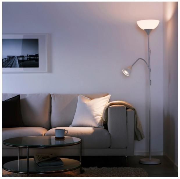 Floor uplighter/reading lamp, White - £13.00!