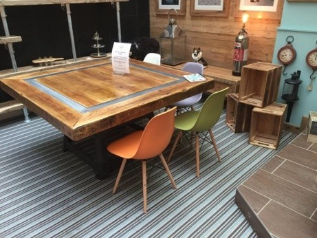 stunning 5ft square table mounted on an old machine base dating back to 1865 - INSTORE!