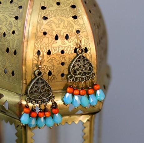 Turquoise and orange boho earrings: £15.00