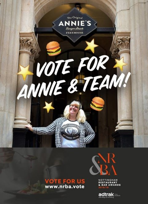 Just a couple more days to vote for Annie and Team in the Nottingham Restaurant & Bar Awards 2018!