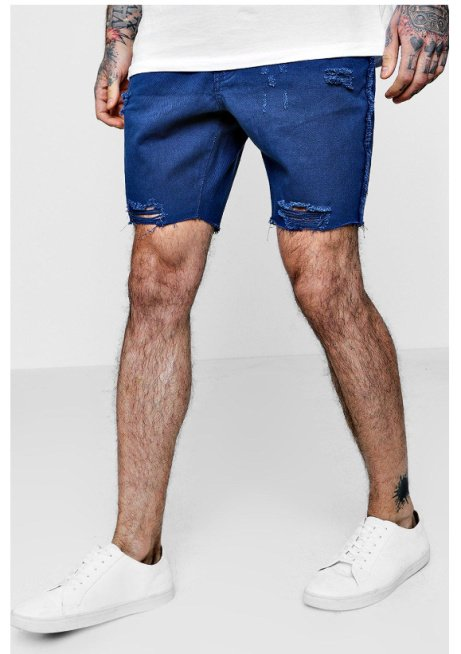 60% OFF these Slim Fit Raw Seam Distressed Denim Shorts!
