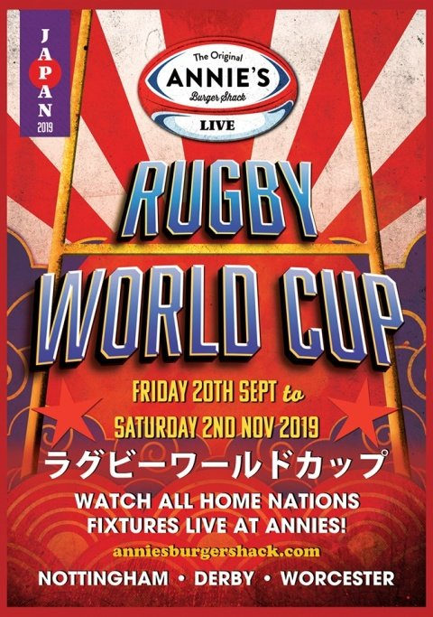 Watch The Rugby World Cup LIVE at Annie's!