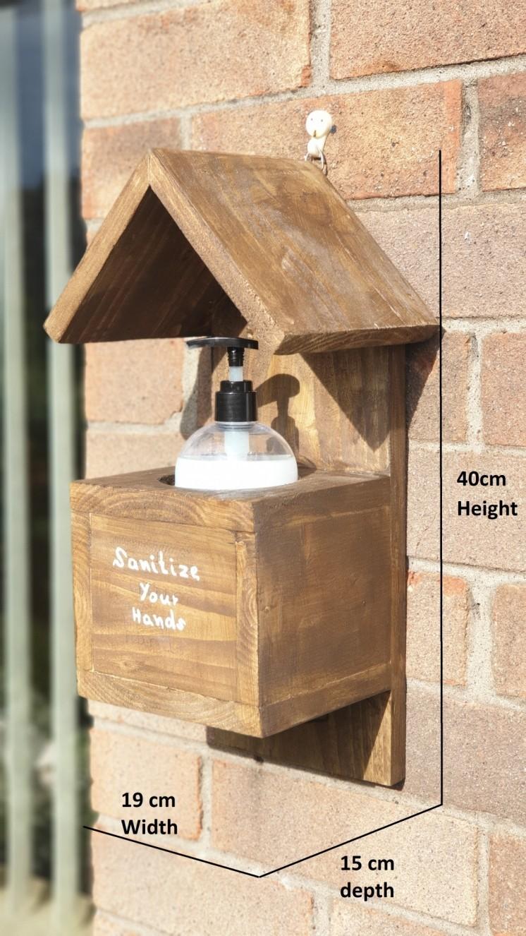 Hand Sanitizer. Handmade wooden wall-mountable, antique, retro-style bottle holder dispenser.