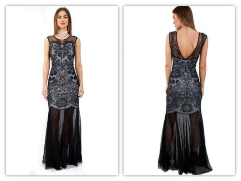 BLACK SEQUIN EMBELLISHED FISHTAIL PROM EVENING DRESS