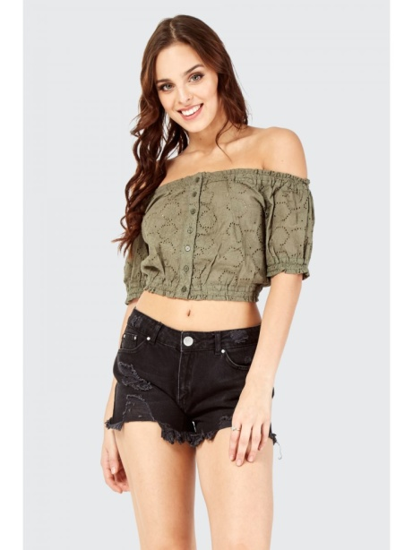 OVER 60% OFF - Broderie Button Bardot Crop Top!