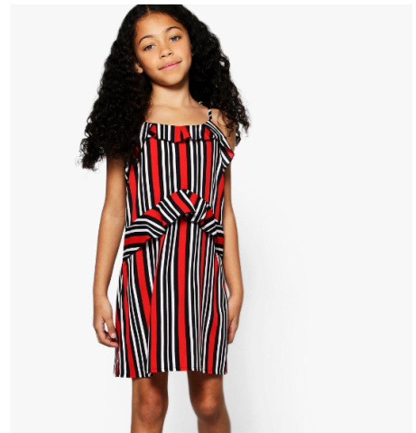 1/2 PRICE - Girls Mono Stripe Ruffle Detail Cami Dress!