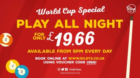 WORLD CUP SPECIAL - Play all night for just £19.66!