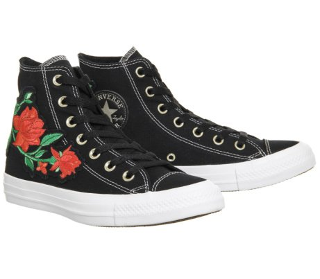 SAVE 46% on these CONVERSE All Star Hi Black Red Rose Exclusive!