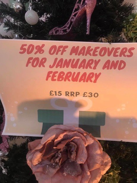 ADVENT DAY 19 - 50% off Makeovers rrp: £30 - TODAY ONLY £15