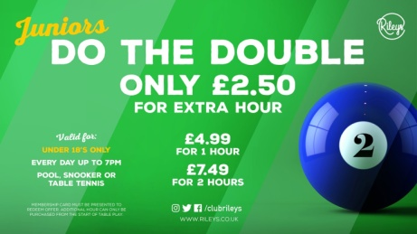 IN CLUB ONLY OFFER - 1 hour of pool for £4.99 before 7.00pm Monday to Sunday.