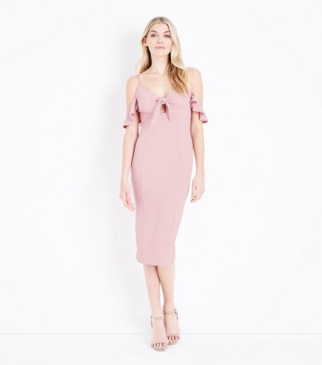 SAVE 50% OFF this Pale Pink Cold Shoulder Tie Front Midi Dress!