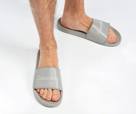 SAVE 1/3 on Calvin Klein Linear Slide in Grey / White / Grey!