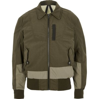SAVE over 70% OFF this Dark Khaki green Design Forum aviator jacket!