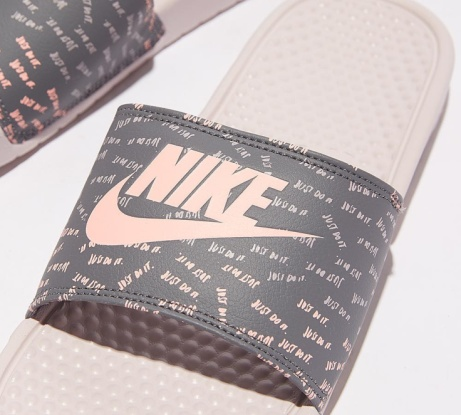 SAVE 25% OFF Nike Womens Benassi JDI Slide Sandal | Barley Rose / White!