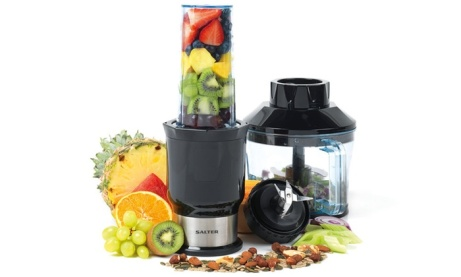 75% OFF this Salter 2 In 1 Nutri Slim Blender and Chopper!