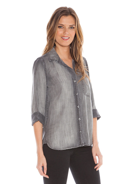NEW IN - Bella Dahl Shirt Shirt Tail Button Down, Grey Arctic Wash £159.95!