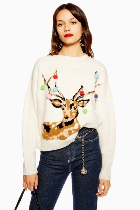 Christmas Stag Pom Pom Jumper £39.00!