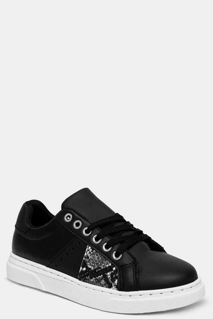 BLACK MOCK CROC AND PYTHON PANEL TRAINERS