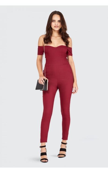 SAVE 50% OFF Sweetheart Bardot Skinny Jumpsuit!