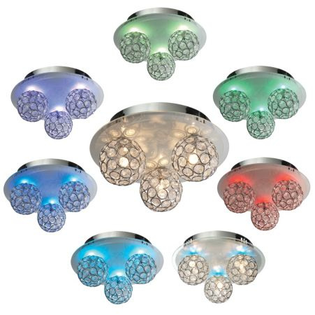 OVER 25% OFF Chameleon Crystal Circle Colour Changing 3 Lamp Ceiling Light!
