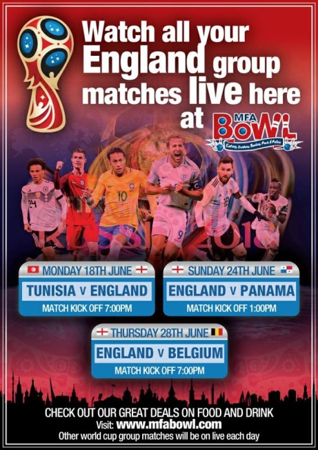 We will be showing all the world cup matches especially the England matches.