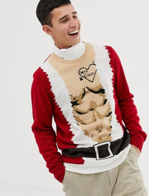 Burton Menswear christmas jumper with santa abs in red