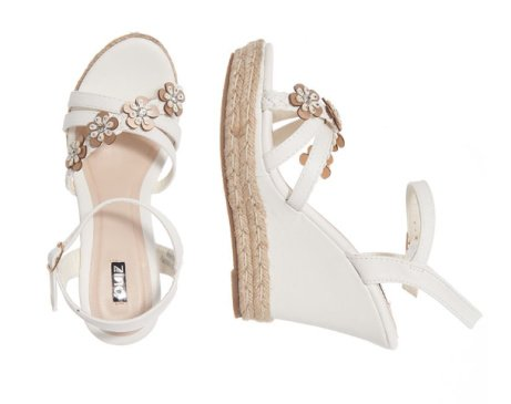 1/3 OFF - White Flower Strap Wedges!