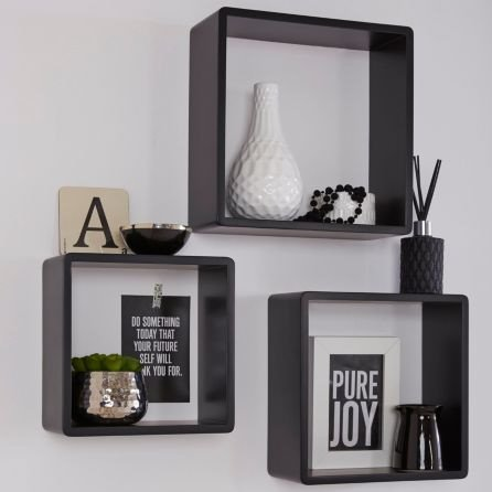 SAVE 1/3 OFF Black Matt Rectangle Shelf, Pack of 3!