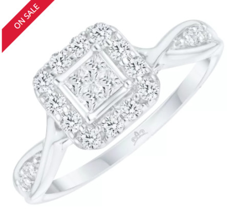 SAVE 50% on this 9ct White Gold 2/5ct Diamond Princessa Ring!