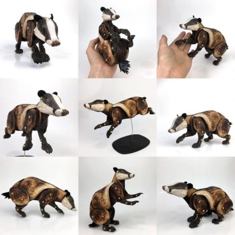 This home ornament badger is a thing of beauty by Laura Mathewsart!