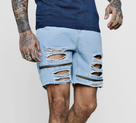 SAVE 70% on Loose Fit Skater Denim Shorts With Zips!