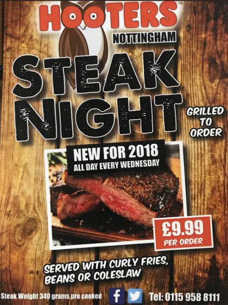 Wednesday nights are now Steak Nights - Grilled to order for just £9.99!