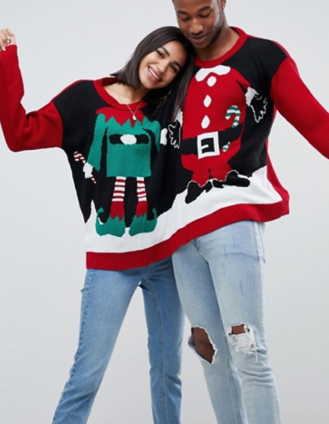 Boohoo Santa and elf two person Christmas jumper in multi