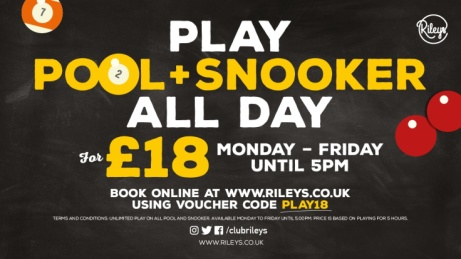 PLAY UNLIMITED SNOOKER ALL DAY FOR JUST £18.00!
