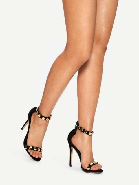 Studded Decor Ankle Strap Stiletto  Heels