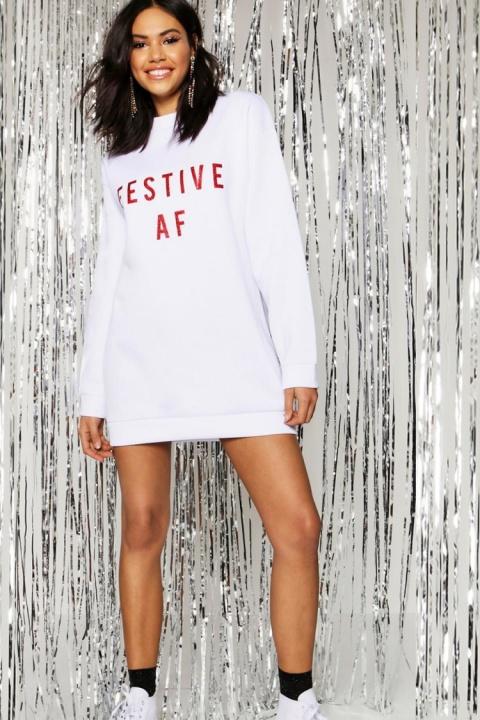 CHRISTMAS SALE, GET 30% OFF - Christmas Festive AF Glitter Print Sweat Dress!