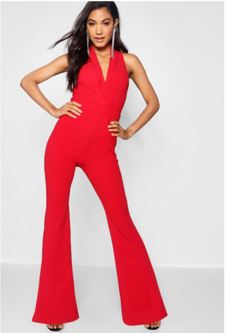 Flare Leg Plunge Jumpsuit - LESS THAN 1/2 PRICE!