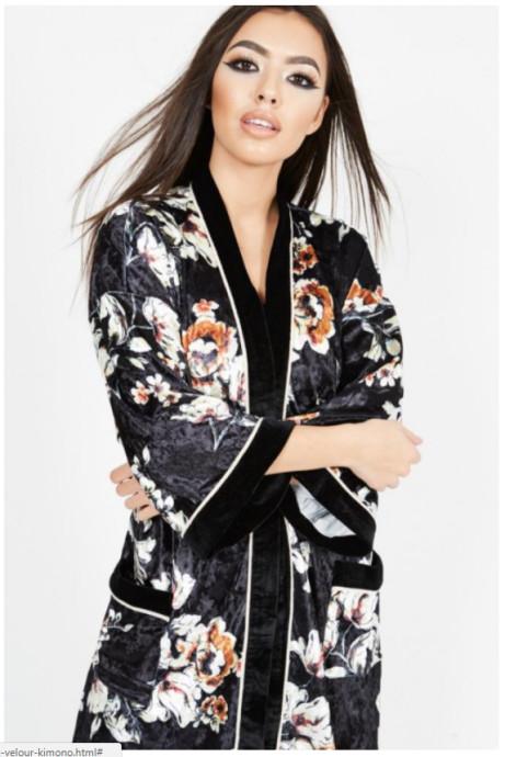 FLORAL PRINT VELOUR KIMONO DRESS: Save £23.00!