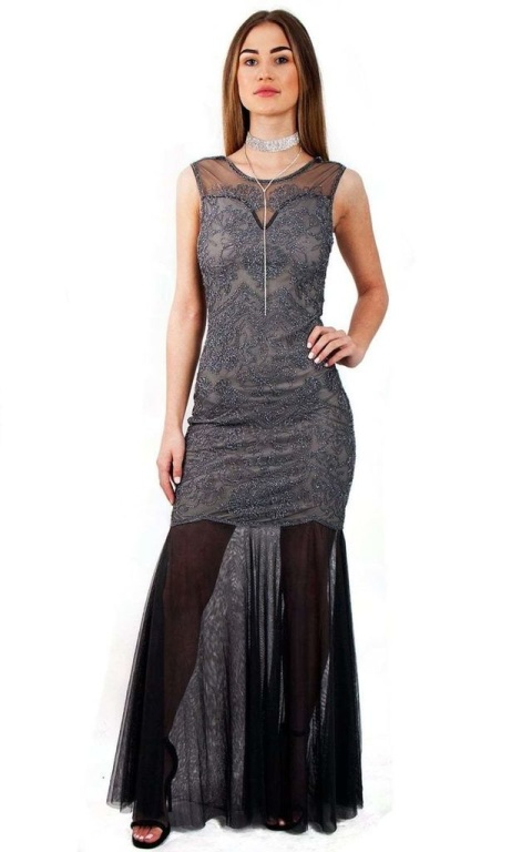 GREY SEQUIN EMBELLISHED FISHTAIL PROM EVENING DRESS
