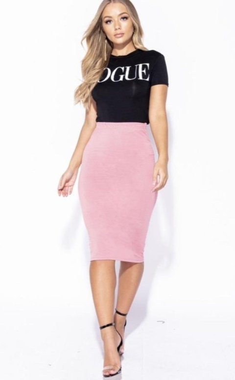 ROSE STRETCH JERSEY PENCIL MIDI SKIRT
