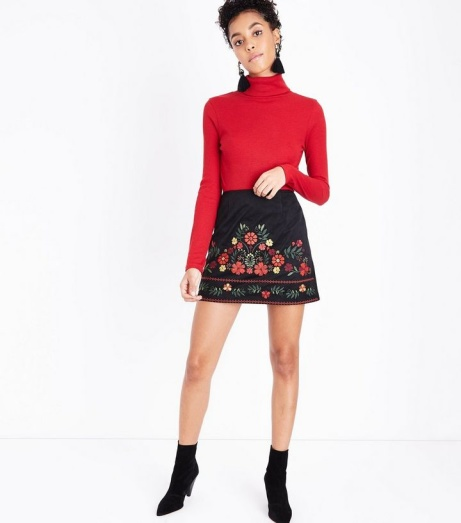 SAVE 60% OFF Petite Black Embroidered Suedette Mini Skirt!